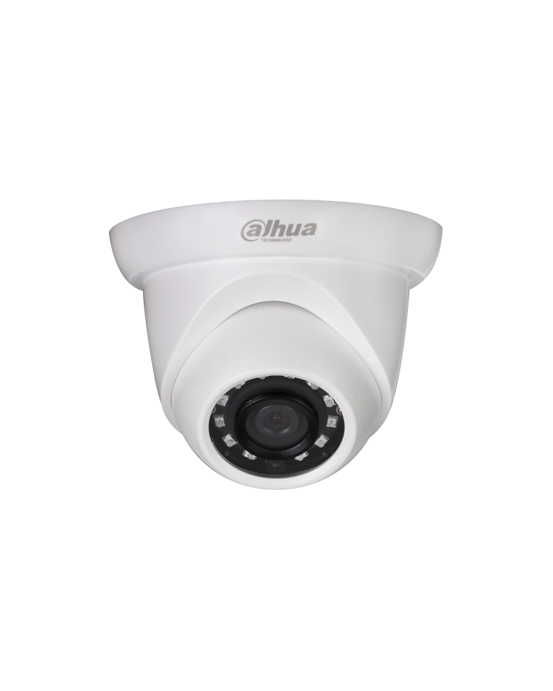 camara ip Minidomo IP con LEDs Dahua, resolución 4M, óptica fija 3.6mm, protección IP67, WDR, alimentación 12VDC / PoE, H.265. Alcance LEDs IR 30m.